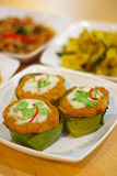 Steamed fish with curry paste royalty free stock photos