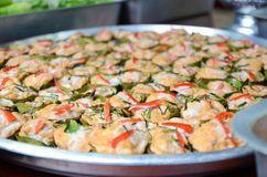 Steamed fish with curry paste. Thai food, Steamed fish with curry paste royalty free stock images