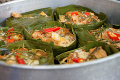 Steamed fish with curry paste Stock Images