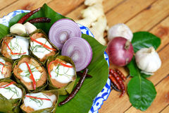 Steamed fish with curry paste Royalty Free Stock Images