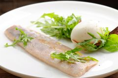 Steamed fish fillet with egg, salad Royalty Free Stock Images