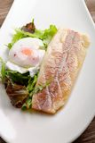 Steamed fish fillet with egg and salad Stock Photos