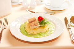 Steamed fish fillet. With mashed potatoes Royalty Free Stock Photos