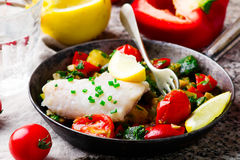 Steamed fish  fillet  with Vegetables Stock Photo