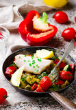 Steamed fish  fillet  with Vegetables Stock Images