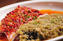 Steamed Fish Head with Diced Hot Red Peppers Stock Photo