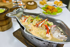 Steamed  fish with lemon Royalty Free Stock Images