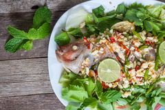Steamed fish with lemon. Stock Photos