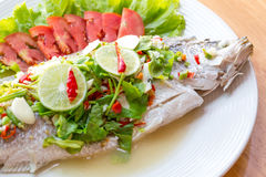 Steamed Fish in Lemon Sauce Stock Images