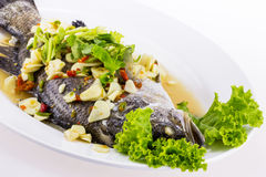 Steamed fish with lemon on white dish Stock Photos