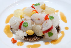 Steamed Fish with Mushrooms Stock Photo