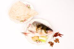 Steamed fish and pancake,Chinese food Stock Images