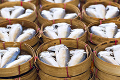 Steamed fish, Plaa Tuu (mackerel) in bamboo steamers at the seaf Stock Image