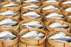 Steamed fish, Plaa Tuu (mackerel) in bamboo steamers at the seaf Stock Photos