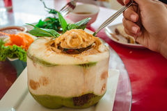 Steamed fish and seafood with curry paste. stock image