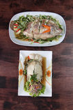 Steamed fish soy sauce Stock Photos