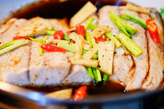 Steamed fish with soy sauce. Steamed Fillet of snapper fish with soy sauce Royalty Free Stock Photo