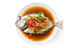 Steamed fish with soy sauce and ginger Royalty Free Stock Photos