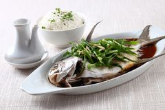 Steamed fish with soy sauce. On linen Royalty Free Stock Photo