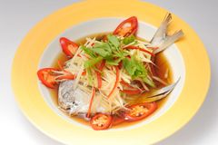 Steamed Fish with Soy Sauce Stock Photo