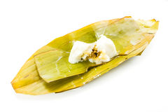 Steamed Flour with Coconut Filling. Kanom Sod-Sai, Steamed Flour with Coconut Filling on white background stock images