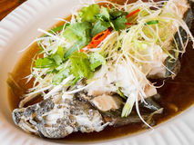 Steamed goby fish with soy sauce Stock Photo