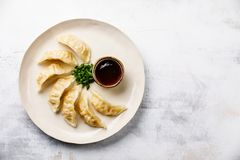Steamed Gyoza dumplings on plate and sauce Royalty Free Stock Photo