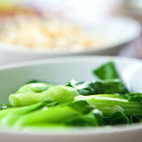 Steamed and healthy baby green bok choi Stock Images
