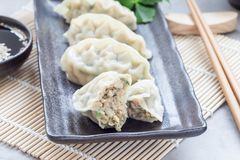 Steamed Korean dumplings Mandu with chicken meat and vegetables. On black plate, horizontal Royalty Free Stock Images