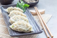 Steamed Korean dumplings Mandu with chicken meat and vegetables. On a black plate, horizontal, copy space Stock Photography