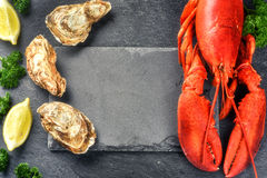 Steamed lobster and oysters on dark background Royalty Free Stock Image