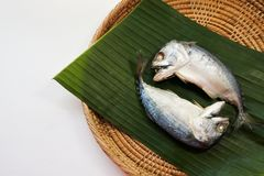 Steamed mackerel on banana leaves background. stock photography