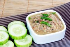 Steamed mackerel chili paste,Thai delicious dish,sour,salt,spicy. Royalty Free Stock Photo