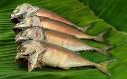 Steamed mackerels. Steamed mackerel on banana leaves ready to be cooked Stock Photos