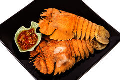 Steamed mantis shrimps with seafood sauce Royalty Free Stock Image