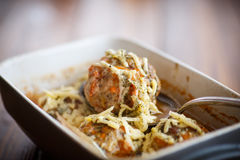 Steamed meatballs tangled meat with carrots Stock Photo