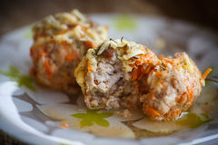 Steamed meatballs tangled meat with carrots Royalty Free Stock Photo