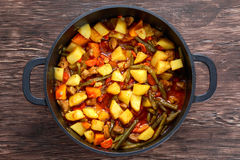 Steamed mix of vegetables with meat and green beans Royalty Free Stock Image