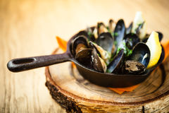 Steamed mussels with dressing Royalty Free Stock Photos