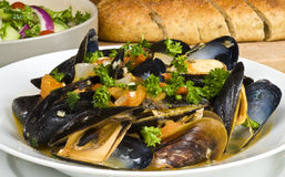 Steamed Mussels Served with Bread and Salad Stock Photography
