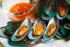 Steamed mussels and spicy sauce. Stock Images