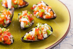 Steamed mussels with vegetable mince Stock Photography