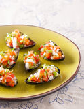 Steamed mussels with vegetable mince Stock Photos