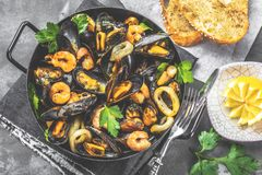 Steamed mussels in white wine sauce on dark table stock photos