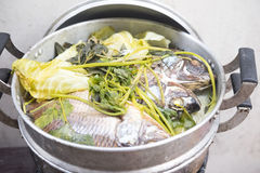 Steamed Nile tilapia fish and vegetables Royalty Free Stock Photo