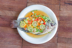 Steamed Nilotica fish,thai style steamed fish in spicy sauce Royalty Free Stock Photos