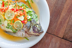 Steamed Nilotica fish,thai style steamed fish in spicy sauce Stock Photos