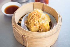Steamed pork dumplings in bamboo steamers. Royalty Free Stock Photo