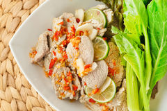 Steamed pork spicy sauce Royalty Free Stock Images