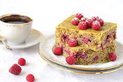 Steamed pudding cake with raspberries and coffee Royalty Free Stock Images